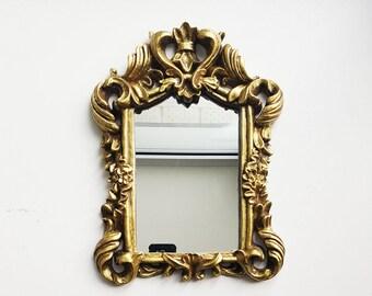 Vintage mirror,Decorative Wall Mirror,Wall Mirror,Shabby Chic, Mirror, Retro style mirror,Golden color frame,Rococo style,vintage wall decor