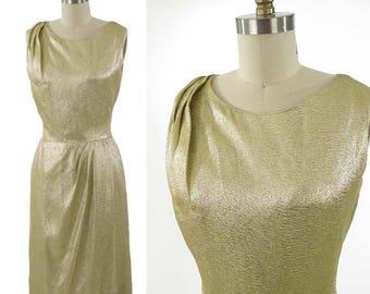 60s Gold Lamé Cocktail Dress-60's-1960s Metallic Party Dress-Draped Front-Mad Men-28 waist-M-Med