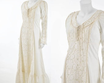 70's Gunne Sax Ivory Maxi Dress-1970s Bohemian Crochet Lace Dress-Renn-Rennaisance-Hippie-Lace Up-Wedding-Bridal-M-Med