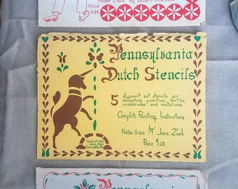 Pennsylvania Dutch Stencils and Hex Sign Patterns (1948 & 1949) - 3 Vintage Sets by Jacob and Jane Zook