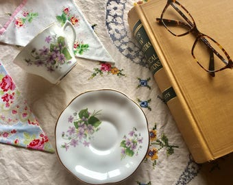 Rosina Vintage English Bone China White Teacup and Saucer with Gold Rim and Small Purple Flowers