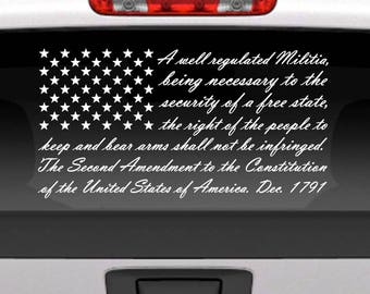Second Amendment American flag vinyl window decal for cars, trucks, etc. American flag, 2nd Amendment window graphic