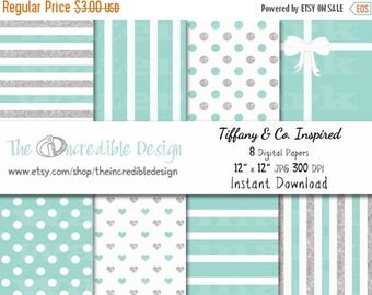 50% OFF SALE Tiffany & Co. Glitter Inspired digital paper pack for scrapbooking, Making Cards, Tags and Invitations, Instant Download