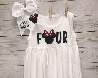 Four Birthday Outfit, Minnie Mouse Dress, Four Birthday Shirt, Four shirt, Toddler girls clothing, Minnie Mouse, Disney Dress, custom dress