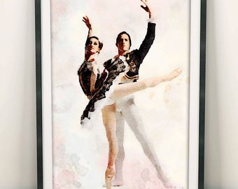 Ballet Print, Ballet Poster, Ballet Painting, Watercolour Ballet, Home Decor, Nursery Decor, Kids Room Decorations, Dance Painting (N404)