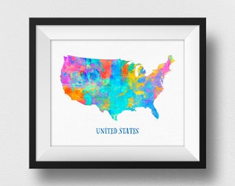 US Map Wall Art, Mp Of The United States Print, Watercolour US Map Poster, Wall Art Decor, Kids Room Art, Home Decor Gift (704)