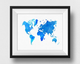 World Map Print, Blue Watercolour World Map Wall Art, Large World Map Decor, Nursery Wall Art, World Map Poster, Home Decor Wall Art (729)
