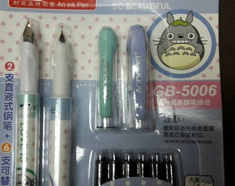 NEW 2 My Neighbor Totoro Fountain Pen with 6 replacement Ink Catridge / self ink absorber Catridge