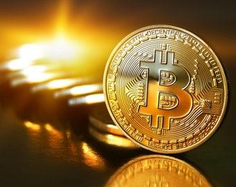 X1 Gold Plated IRON Bitcoin Coin Souvenir (Collectible)