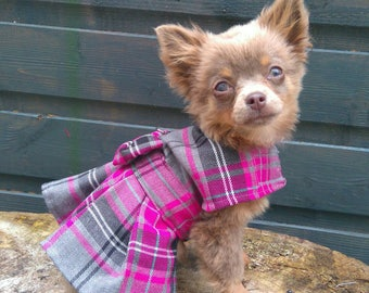 Small Dog Harness - Chihuahua Clothes - Chihuahua Dress - Dog Dress - Small Dog Clothes - Harness Coat - Chihuahua - Dog Outfit - Plaid Dog