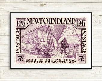 P089 Newfoundland, Newfoundland Postage, Nfld Canada, Cabot, Cape Bonavista, 1400s, Sailing ships, Wooden ships, Fishing boats, Canadian Art