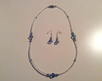 Blue crystal earrings and necklace set