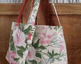 Mother/daughter pattern shoulder bag large flowers