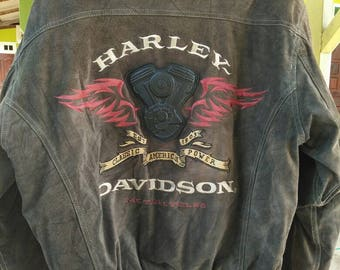 Rare Vintage HARLEY DAVIDSON Big Logo Leather Jacket