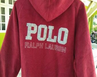 Rare Vintage POLO Jeans RALPH LAUREN Spell Out Big Logo Fleece Hoodie Size L Large