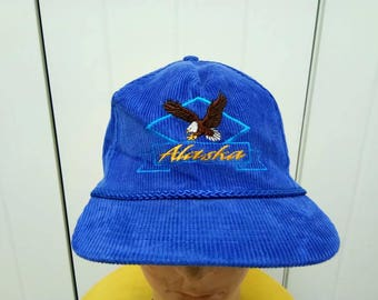 Rare Vintage ALASKA EAGLE Corduroy Cap Hat Free Size Fit All