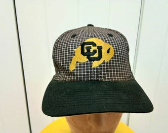 Rare Vintage COLORADO UNIVERSITY BUFFALOS Big Logo Cap Hat Free Size Fit All