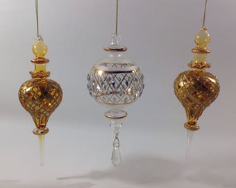 Hand Blown Glass Christmas Ornaments Gold Glitter Clear w/ Prism Set of 3