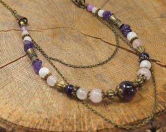 Antique bronze Baroque necklace, semi precious stones: rose quartz, amethyst and white labradorite