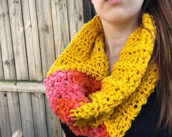 Chunky, Soft Handspun Yarn Cowl, Crochet Loop Scarf, Colorful Fall Accessories, Yellow / Pink / Orange