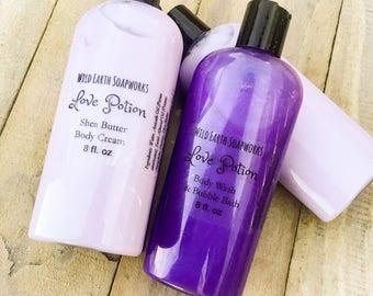 Love Potion Body Cream and Body Wash/ Bubble Bath Set