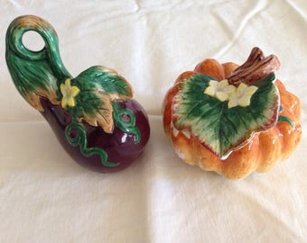 Vintage Fitz and Floyd Pumpkin and Eggplant Salt and Pepper Shakers