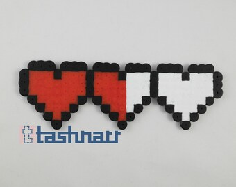 Legend of Zelda heart containers beadsprite/keychain