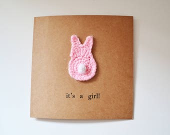 Crocheted New Baby Bunny Card