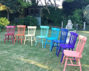 Painted Chairs, Mismatched Chairs, Rainbow Chairs, Dining Chairs, Vintage Painted Chairs, Painted Furniture.