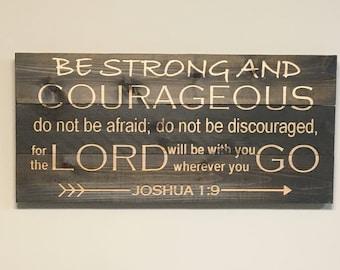 "Joshua 1:9 Bible Verse Wall Art - 35"" x 16"" - Horizontal - Pallet Wood Style !!FREE SHIPPING!!"