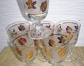6 Stem Glasses, Golden Foliage, Libby Glass