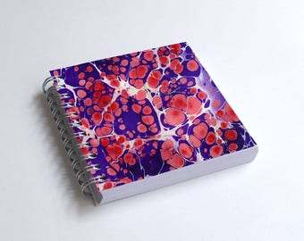 "Notebook 4x4"" decorated with motifs of marbled papers - 34"