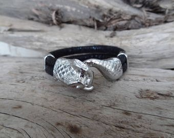 EXPRESS SHIPPING,Snake Skin Bracelet,Biack High Quality Leather Bracelet,Men's Jewelry,Snake Bracelet,Gifts for Boyfriend,Father's Day Gifts