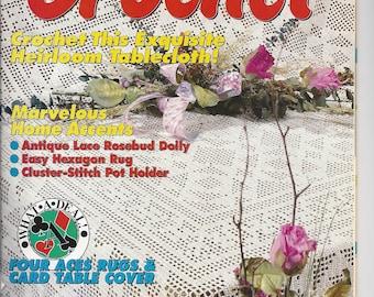 Vintage Women's Circle Crochet Magazine Summer 1993  Patterns - 19 Heirloom Tablecloth Rosebud Doily Rug Pot Holder