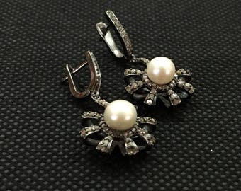 Pearl and Diamond Victorian Earrings, Victorian  Earrings, Pearl Earrings with Diamonds, Giftsforher, Wedding Jewellery,