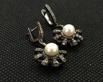 Pearl and Diamond Victorian Earrings, Victorian  Earrings, Pearl Earrings with Diamonds, Giftsforher, Wedding Jewellery,