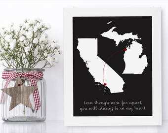 Best Friends Distance Unique Long Distance Gift 2 Map Art Two Map Print Personalized State Country Distance Present Birthday Gifts