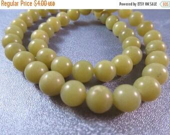 ON SALE 15% OFF Olive Jade Round 8mm Beads 51pcs
