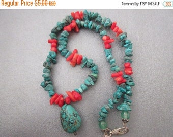 ON SALE 15% OFF Turquoise / Bamboo Coral Beads w/ a Turquoise Drop Choker Necklace