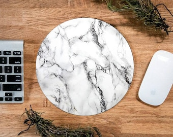 """Marble Mousepad, Marble, 7.5"""" Circle Mousepad, Dorm Supplies, Back to School, Tech, Tech Gifts, Marble Decor, Autumn Sale, Gifts under 10"""