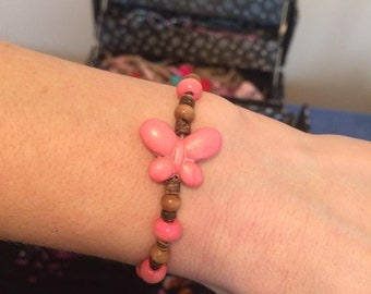 Pink Butterfly Bracelet with wooden beads