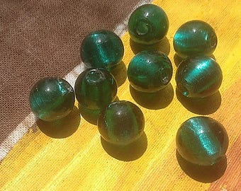 Set of 3 round beads, I is turquoise/Emerald glass silver foil, handmade 10 mm