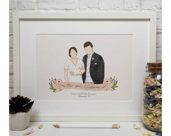 Christening Portrait Illustration in pen and ink. Personalised.