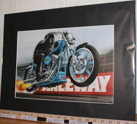 "David Mann ""Raceway"" 16"" x 20"" Matted Motorcycle Biker Art #9411ezrxmb"