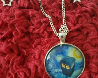 Doctor Who Van Gogh TARDIS necklace with charms
