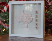 Texas, fabric backed wall art, state puzzle piece, wooden scrabble letters