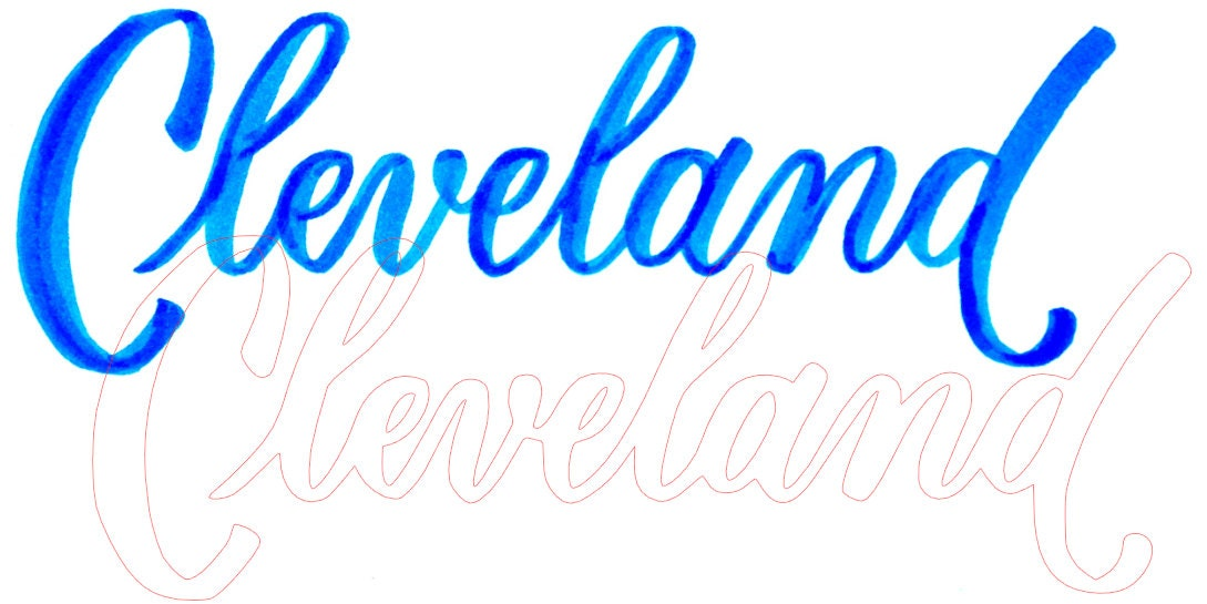 Traced Cleveland lettering Silhouette Studio