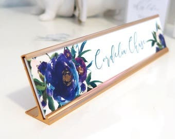 "Custom Floral Name Plate ""Cordelia"" - Personalized Desk Name Plate Sign Decor - Office Accessories - Rose Gold Holder - Wall Mounted Option"