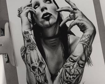 Marilyn Manson Pencil Drawing