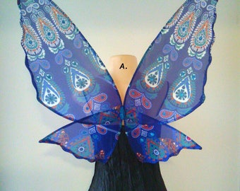 Midnight Blue Moroccan Print Butterfly/Faerie wings